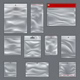 Zipped empty sealed sachet or packs  Stock Photography