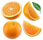 Set pomarańczowe owoc i pomarańcze pokrajać odosobnionego na białym tle Kartoteka zawiera ścinek ścieżkę fotografia stock