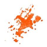 Set pomarańczowa farba, atrament, grunge, brudni muśnięć uderzenia Obrazy Stock