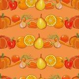 Set pomarańczowi owoc i warzywo na pomarańczowym bezszwowym wzorze Obrazy Stock