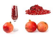 Set of pomegranate Stock Photos