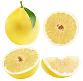 Set of Pomelo or Chinese grapefruits isolated on the white backg Stock Photos