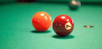 Set of pool balls. Ready to start the game stock photography