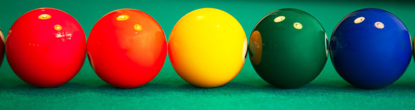 Set of pool balls. Ready to start the game royalty free stock image
