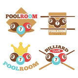 Set of pool room emblems Stock Photos