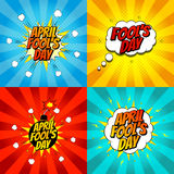 Set of pop art comic april fool's day illustrations Royalty Free Stock Photography