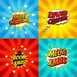 Set of pop art comic Christmas vector illustration. Decorative set of backgrounds for Christmas with bomb explosive Royalty Free Stock Photos