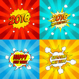 Set of pop art comic happy new year vector illustration. Decorative set of backgrounds for happy new year with bomb explosive Royalty Free Stock Photos