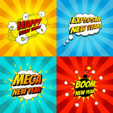 Set of pop art comic happy new year vector illustration. Decorative set of backgrounds for happy new year with bomb explosive Royalty Free Stock Images