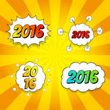 Set of pop art comic new year 2016. Decorative set of backgrounds for happy new year with bomb explosive Stock Images