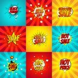 Set of pop art comic sale discount promotion vector illustration. Stock Images