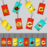 Set of pop art comic sale discount tags vector illustration Royalty Free Stock Images