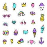 Set of pop art labels, pins, stickers. Stock Images