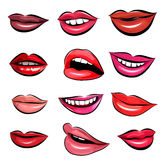 Set of Pop Art Lips on a white background. Vector. Set of 12 Pop Art Lips on a white background. Vector illustration Stock Illustration