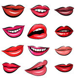 Set of Pop Art Lips on a white background. Vector. Set of 12 Pop Art Lips on a white background. Vector illustration royalty free illustration