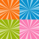 Set of Pop Art Retro Background with Sunbeams Stock Photos