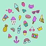 Set of pop art signs, pins, stickers. Heart, diamond, anchor, fruits, ice creams. Vector hand drawn illustration in a funny retro style Royalty Free Stock Photos