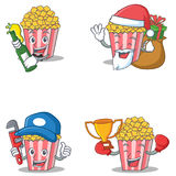 Set of Popcorn character with beer gift plumber winner. Vector illustration Stock Photos