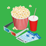 Set popcorn, drink, 3d glasses realistic vector isometric illustration. Cinema concept with movie theatre elements. Flat. 3d isometric vector illustration Stock Photos