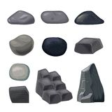 Set popielaci kamienie różny kształt na białym tle ilustracji