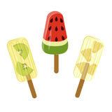 Set of Popsicles. With berries and fruits isolated ob white background. Top view ice-cream vector illustration eps 10 Royalty Free Stock Photography