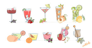 Set of popular alcohol cocktail. Stock Photo