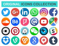 Set of popular circle social media and other icons. September 17, 2018: Set of popular circle social media and other icons: Facebook, Twitter, Instagram, Wechat stock illustration