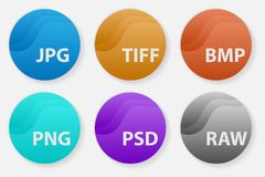 Image file types formats labels icon set. Set of popular colored icons for file types. Image file types formats labels icon set Stock Photo