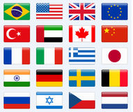 Set of popular country flags. Glossy rectangle  icon set. Stock Photos