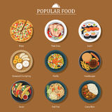 Set of popular food. For web and print stock illustration