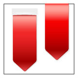 Set of Popular ribbons sticker on top. Realistic. Set of Popular red ribbons sticker on top. Realistic modern style.  Isolated on white background Stock Photos