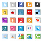 Square social media buttons. Set of popular social media buttons isolated on white Stock Illustration