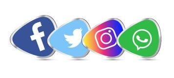 Set of popular social media 3d logos, icons facebook instagram twitter youtube whatsapp stock illustration
