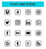 Set of popular social media icons. December 10, 2018: Set of popular social media and other icons: Facebook, Twitter, Instagram, LinkedIn, Dropbox, Youtube and vector illustration