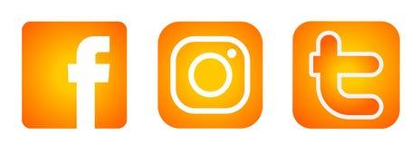 Set of popular social media logos icons Instagram Facebook Twitter element vector in Gold orange on white background royalty free illustration
