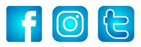 Set of popular social media logos icons Instagram Facebook Twitter element vector in blue on white background stock illustration