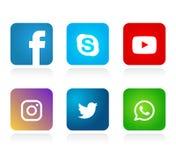 Set of popular social media logos icons, Instagram Facebook Twitter Youtube WhatsApp element vector stock illustration