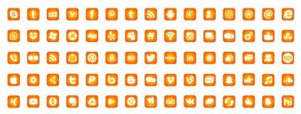 Set of popular social media logos icons Instagram Facebook Twitter Youtube WhatsApp LinkedIn Pinterest Blogd on white background. In ai10 illustrations in gold royalty free illustration