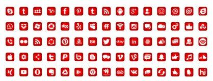 Set of popular social media logos icons Instagram Facebook Twitter Youtube WhatsApp LinkedIn Pinterest Blogd on white background. In ai10 illustrations in Red vector illustration
