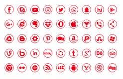 Set of popular social media logos, icons red Instagram, Facebook, Twitter, Youtube, WhatsApp, LinkedIn, Pinterest, Blog. Set of popular social media logos icons vector illustration