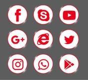 Set of popular social media logos, icons red Instagram, Facebook, Twitter, Youtube, WhatsApp, royalty free illustration