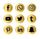 Set of popular social media logos vector web icon. Internet, facebook. royalty free illustration