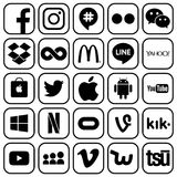 Set of popular social media and other icons vector illustration