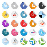 Sticker social media buttons and icons. Set of popular social media sticker buttons icons isolated on white Stock Photo