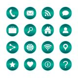 Set of popular web icons. Vector circle buttons with basic icons. Isolated background. Royalty Free Stock Photos