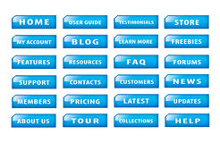 Set of popular website buttons. Popular and common buttons for making a website Stock Image