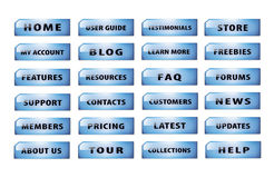 Set of popular website buttons version 3. Popular and common buttons for making a website Royalty Free Stock Photo