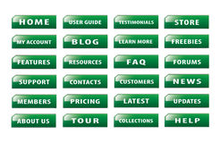 Set of popular website buttons version 6. Popular and common buttons for making a website Royalty Free Stock Photos