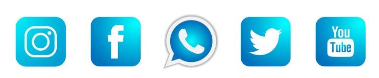 Set popularne ogólnospołeczne medialne logo ikony w błękitnym Instagram Facebook Twitter Youtube WhatsApp elementu wektorze na bi ilustracja wektor