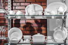 Set of porcelain dishes Stock Photo